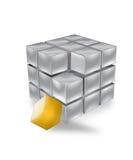cube en orange 3D Image stock