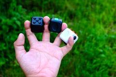 Cube en personne remuante Photographie stock