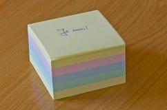 Cube en post-it Photos libres de droits