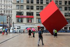 Cube en rouge de New York Photographie stock