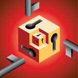 Cube en trou principal Photos stock