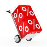 Cube en vente de camion de main Photographie stock