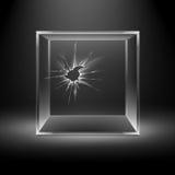 Cube en verre cassé transparent vide en boîte de fente illustration de vecteur