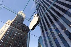 Cube en verre en mémoire d'Apple à New York City Photos libres de droits