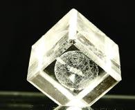 Cube en verre sur le backgroud foncé Photographie stock libre de droits