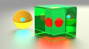 Cube et sphère en verre Photo stock