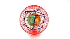 Cube et sphère en verre Photos stock