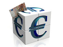 Cube with euro Royalty Free Stock Photos