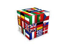 Cube with european flags. 3d puzzle cube with european flags Stock Photos