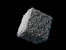 Cube with extruded surface  on black. Abstract flying cube with chaotic extruded surface  on black, 3d illustration Royalty Free Stock Photo