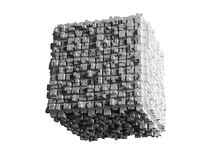 Cube with extruded surface  on white. Abstract flying cube with chaotic extruded surface  on white background, 3d illustration Royalty Free Stock Image