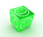 Cube with faces. Illustration of a green cube with different faces Stock Photos