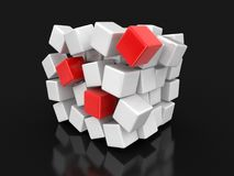 Cube falls apart. Image with clipping path Stock Photography
