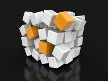 Cube falls apart. Image with clipping path Stock Image