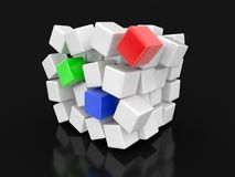 Cube falls apart. Image with clipping path Stock Photos