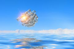 Innovative technologies and environment. Cube figure reflecting in sea waves. 3d rendering Stock Images