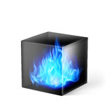 Cube with fire flames. Black cube with blue fire flames inside on white Royalty Free Stock Photos