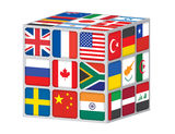 Cube with flags of the world Stock Photos