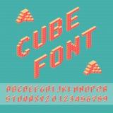 Cube font. Cube vector font. 3D alphabet. Font Template for Design Stock Photo