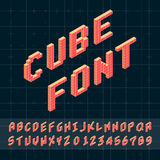 Cube font. Cube vector font. 3D alphabet. Font Template for Design Stock Image