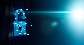 Cube Forming Digital Lock Icon Stock Photography