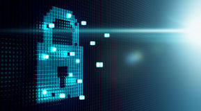 Cube Forming Digital Lock Icon Royalty Free Stock Image