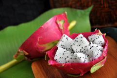 Cube of fresh dragon fruit Stock Photography