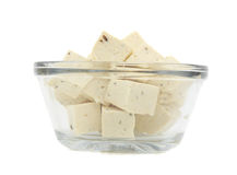 Cube of fresh tofu. Cube of fresh fine herbs tofu in a bowl, isolated on white Stock Photography
