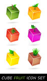 Cube fruit icon set Stock Photos