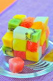 Cube fruits salad Stock Photo