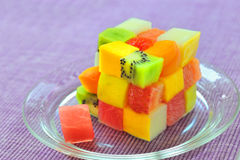 Cube fruits salad Royalty Free Stock Photos