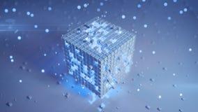 Cube futuriste blanc avec les éléments bleus rougeoyants 3D rendre illustration libre de droits