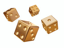 Cube for game. 3d model of a cube for game are made from gold metal Royalty Free Stock Photo