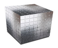 Cube with gaps silver metal Stock Images