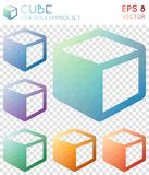 Cube geometric polygonal icons. Amusing mosaic style symbol collection. Interesting low poly style. Modern design. Cube icons set for infographics or stock illustration