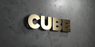 Cube - Gold sign mounted on glossy marble wall  - 3D rendered royalty free stock illustration Stock Photography