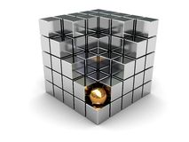 Cube and golden ball Royalty Free Stock Images
