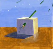 Cube gouache painting. Gouache painting of a sunlit cube pierced with green pencil against blue sky and same falling things Stock Photo