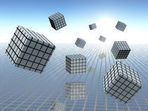 Cube Graphs in Motion. Grid plane on horizon sky with abstract cube graphs in motion, 3d Illustration Stock Images
