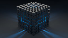 Cube gray glossy plastic. Blue light from within. Wallpaper. Royalty Free Stock Images