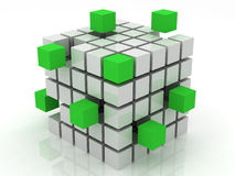 Cube green assembling from blocks Stock Image