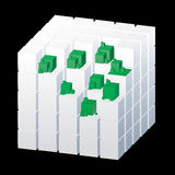 Cube with green parts Stock Images