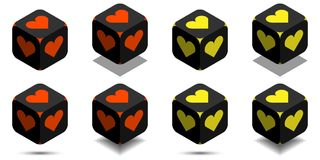 Cube with heart in orange and yellow colors. Isometric black cube of love with rounded angles and heart sign on sides, vector icon of heart box Royalty Free Stock Photos