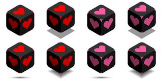 Cube with heart in red and pink colors. Isometric black cube of love with rounded angles and heart sign on sides, vector icon of heart box Stock Illustration