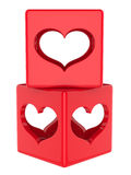 Cube with hearts Stock Images