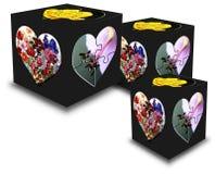 Cube, Hearts, Trio, Square, Black Stock Photo