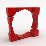 Cube Hole. A round hole cut in a wall of cubes Royalty Free Stock Photo