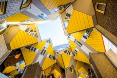 Cube house in Rotterdam. ROTTERDAM, NETHERLANDS - August 06, 2017: View from below on the famous cube house designed by architect Piet Blom in Rotterdam Stock Image