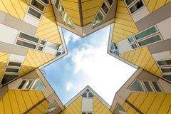 Cube houses designed Yellow Cube houses in Rotterdam under Clear Royalty Free Stock Photo