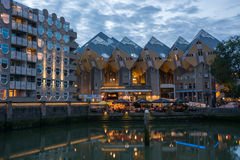 Cube houses in Rotterdam by night stock image